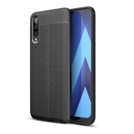 Samsung Galaxy A50 Szilikon Tok Bőrmintázattal TPU Prémium Fekete
