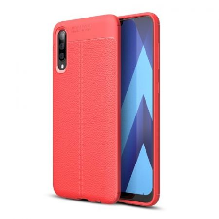 Samsung Galaxy A50 Szilikon Tok Bőrmintázattal TPU Prémium Piros