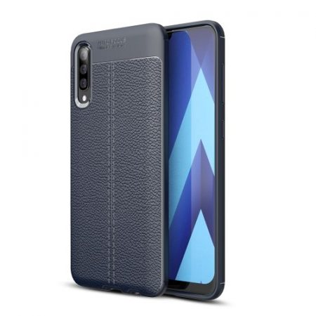 Samsung Galaxy A50 Szilikon Tok Bőrmintázattal TPU Prémium Sötétkék