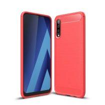 Samsung Galaxy A50 Szilikon Tok Ütésállókivitel Karbon Mintázattal Piros