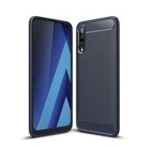 Samsung Galaxy A50 Szilikon Tok Ütésállókivitel Karbon Mintázattal Sötétkék