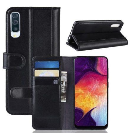 Samsung Galaxy A50 Bőrtok Notesz Kártyatartóval Kitámasztható Fekete