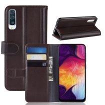 Samsung Galaxy A50 Bőrtok Notesz Kártyatartóval Kitámasztható Barna