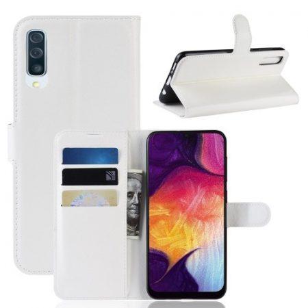 Samsung Galaxy A50 Notesz Tok Business Series Kitámasztható Bankkártyatartóval Fehér