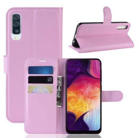 Samsung Galaxy A50 Notesz Tok Business Series Kitámasztható Bankkártyatartóval Rózsaszín