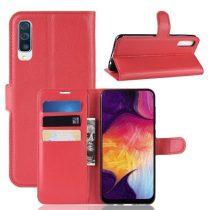 Samsung Galaxy A50 Notesz Tok Business Series Kitámasztható Bankkártyatartóval Piros