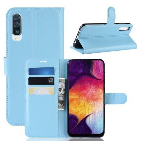 Samsung Galaxy A50 Notesz Tok Business Series Kitámasztható Bankkártyatartóval Világoskék