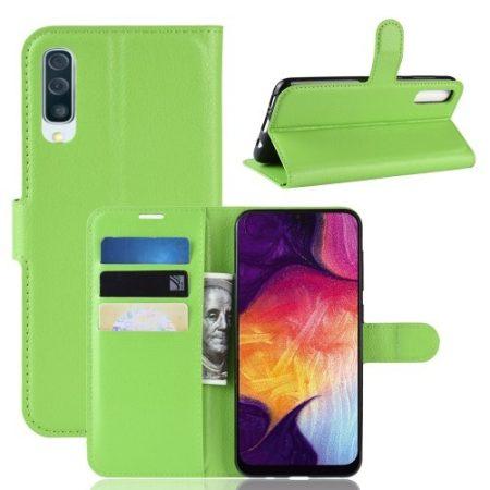 Samsung Galaxy A50 Notesz Tok Business Series Kitámasztható Bankkártyatartóval Zöld