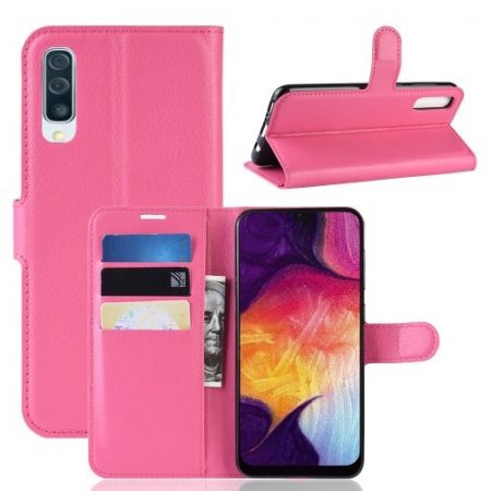 Samsung Galaxy A50 Notesz Tok Business Series Kitámasztható Bankkártyatartóval Pink