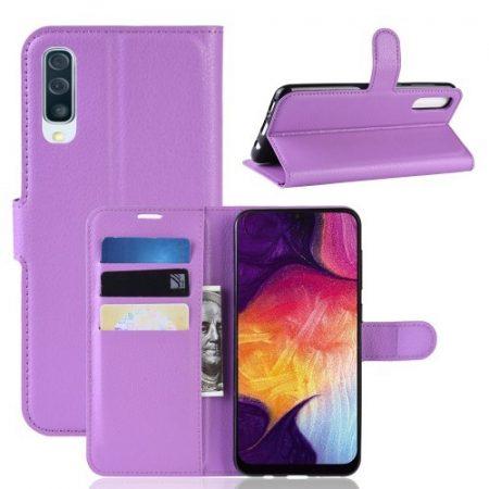 Samsung Galaxy A50 Notesz Tok Business Series Kitámasztható Bankkártyatartóval Lila