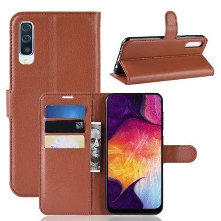 Samsung Galaxy A50 Notesz Tok Business Series Kitámasztható Bankkártyatartóval Barna