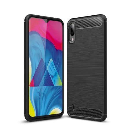 Samsung Galaxy M10 Szilikon Tok Ütésállókivitel Karbon Mintázattal Fekete