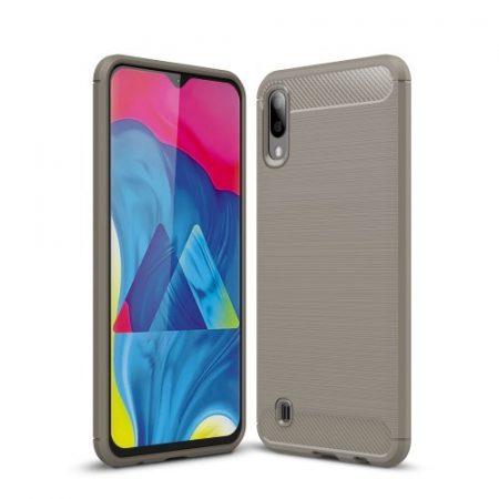 Samsung Galaxy M10 Szilikon Tok Ütésállókivitel Karbon Mintázattal Szürke