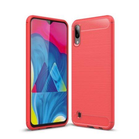 Samsung Galaxy M10 Szilikon Tok Ütésállókivitel Karbon Mintázattal Piros