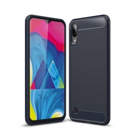 Samsung Galaxy M10 Szilikon Tok Ütésállókivitel Karbon Mintázattal Sötétkék