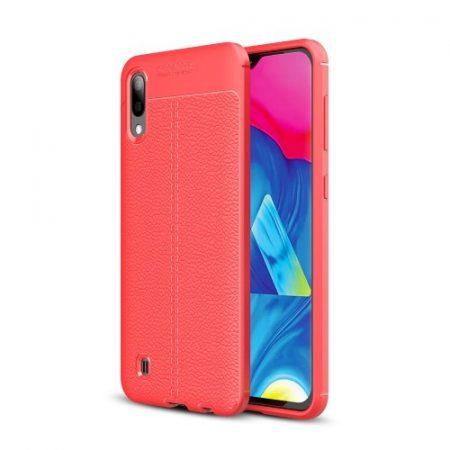 Samsung Galaxy M10 Szilikon Tok Bőrmintázattal TPU Prémium Piros
