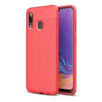 Samsung Galaxy A40 Szilikon Tok Bőrmintázattal TPU Prémium Piros