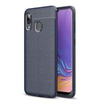 Samsung Galaxy A40 Szilikon Tok Bőrmintázattal TPU Prémium Sötétkék
