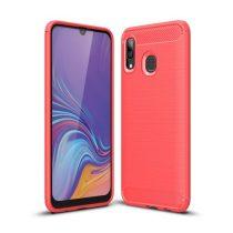 Samsung Galaxy A40 Szilikon Tok Ütésállókivitel Karbon Mintázattal Piros