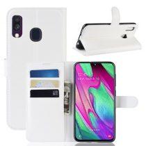 Samsung Galaxy A40 Notesz Tok Business Series Kitámasztható Bankkártyatartóval Fehér