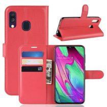 Samsung Galaxy A40 Notesz Tok Business Series Kitámasztható Bankkártyatartóval Piros