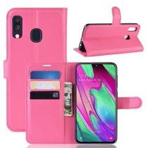 Samsung Galaxy A40 Notesz Tok Business Series Kitámasztható Bankkártyatartóval Pink