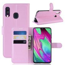 Samsung Galaxy A40 Notesz Tok Business Series Kitámasztható Bankkártyatartóval Rózsaszín