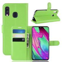 Samsung Galaxy A40 Notesz Tok Business Series Kitámasztható Bankkártyatartóval Zöld