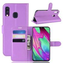 Samsung Galaxy A40 Notesz Tok Business Series Kitámasztható Bankkártyatartóval Lila