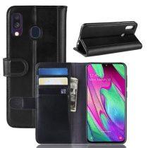 Samsung Galaxy A40 Bőrtok Notesz Kártyatartóval Kitámasztható Fekete