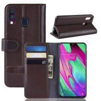 Samsung Galaxy A40 Bőrtok Notesz Kártyatartóval Kitámasztható Barna