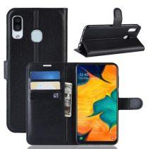 Samsung Galaxy A20 / A30 Notesz Tok Business Series Kitámasztható Bankkártyatartóval Fekete