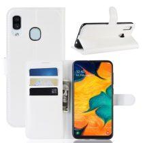Samsung Galaxy A20 / A30 Notesz Tok Business Series Kitámasztható Bankkártyatartóval Fehér