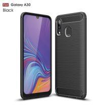 Samsung Galaxy A20 / A30 Szilikon Tok Ütésállókivitel Karbon Mintázattal Fekete