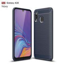Samsung Galaxy A20 / A30 Szilikon Tok Ütésállókivitel Karbon Mintázattal Sötétkék