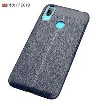 Huawei Y7 (2019) Szilikon Tok Bőrmintázattal TPU Prémium Sötétkék