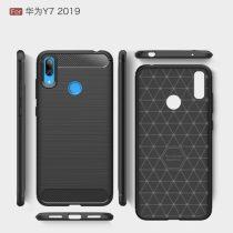 Huawei Y7 (2019) Szilikon Tok Ütésállókivitel Karbon Mintázattal Fekete