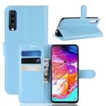 Samsung Galaxy A70 Notesz Tok Business Series Kitámasztható Bankkártyatartóval Világoskék