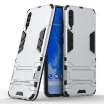 Samsung Galaxy A70 2in1 Tok Ütésálló - Kitámasztható TPU Hybrid Ezüst