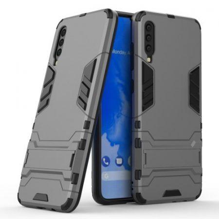 Samsung Galaxy A70 2in1 Tok Ütésálló - Kitámasztható TPU Hybrid Szürke