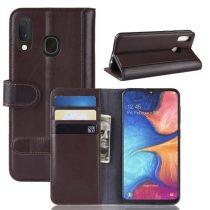 Samsung Galaxy A20e Bőrtok Notesz Kártyatartóval Kitámasztható Barna