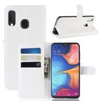 Samsung Galaxy A20e Notesz Tok Business Series Kitámasztható Bankkártyatartóval Fehér