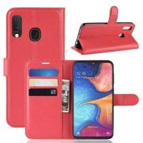 Samsung Galaxy A20e Notesz Tok Business Series Kitámasztható Bankkártyatartóval Piros