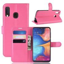 Samsung Galaxy A20e Notesz Tok Business Series Kitámasztható Bankkártyatartóval Pink