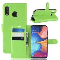 Samsung Galaxy A20e Notesz Tok Business Series Kitámasztható Bankkártyatartóval Zöld