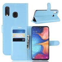 Samsung Galaxy A20e Notesz Tok Business Series Kitámasztható Bankkártyatartóval Világoskék