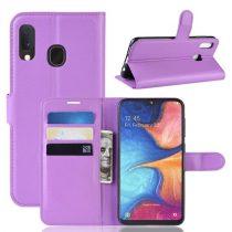 Samsung Galaxy A20e Notesz Tok Business Series Kitámasztható Bankkártyatartóval Lila