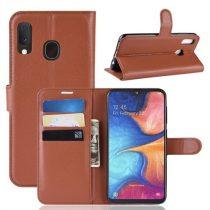 Samsung Galaxy A20e Notesz Tok Business Series Kitámasztható Bankkártyatartóval Barna