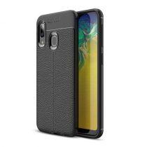 Samsung Galaxy A20e Szilikon Tok Bőrmintázattal TPU Prémium Fekete