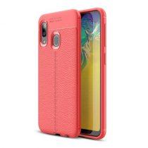Samsung Galaxy A20e Szilikon Tok Bőrmintázattal TPU Prémium Piros